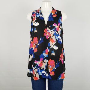 Vince Camuto Black Flower Print Top Size L